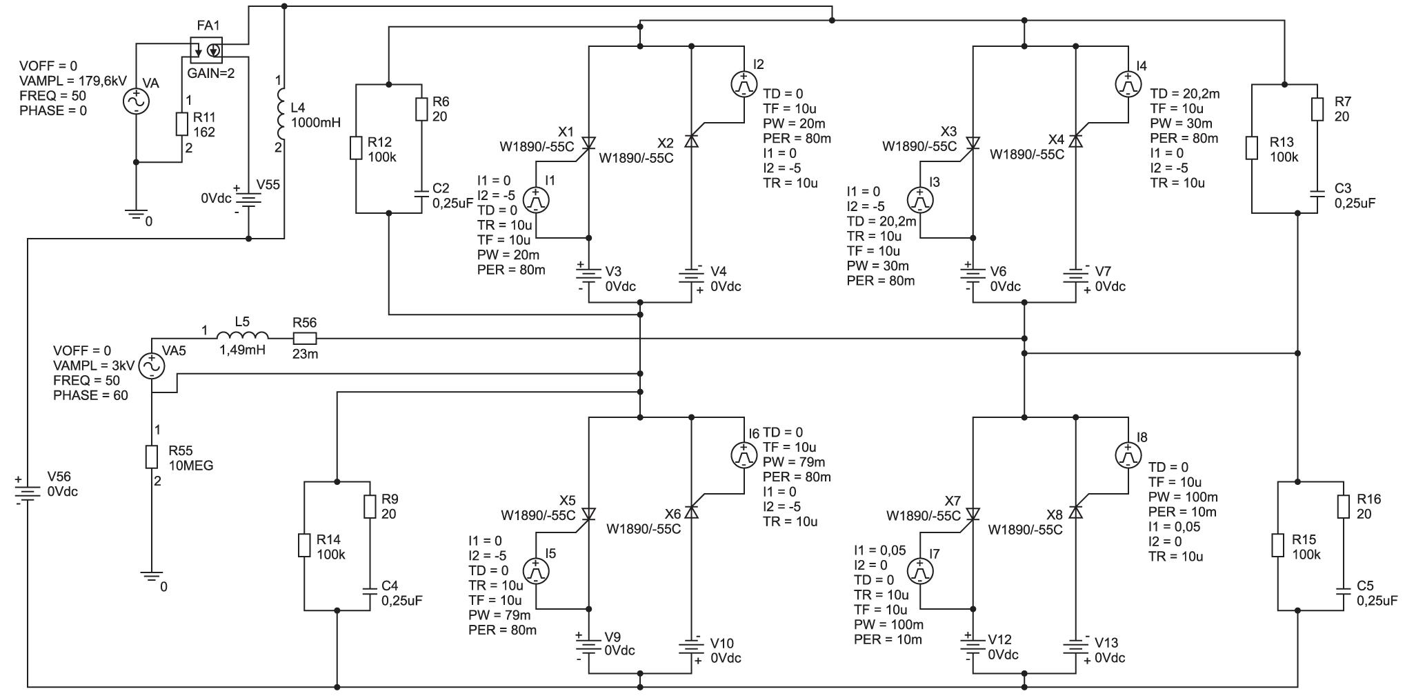 Имитационная модель работы тиристорного моста переменного тока
