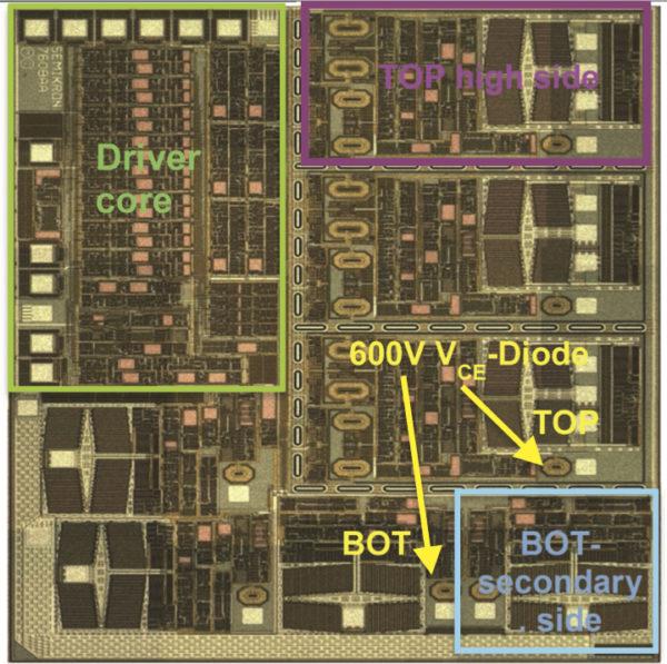 Топология 7-канального (600 В/1,4 А) интегрального SOI-CMOS-драйвера с функцией мониторинга VCE(sat) (размер чипа 4,6×4,1 мм)