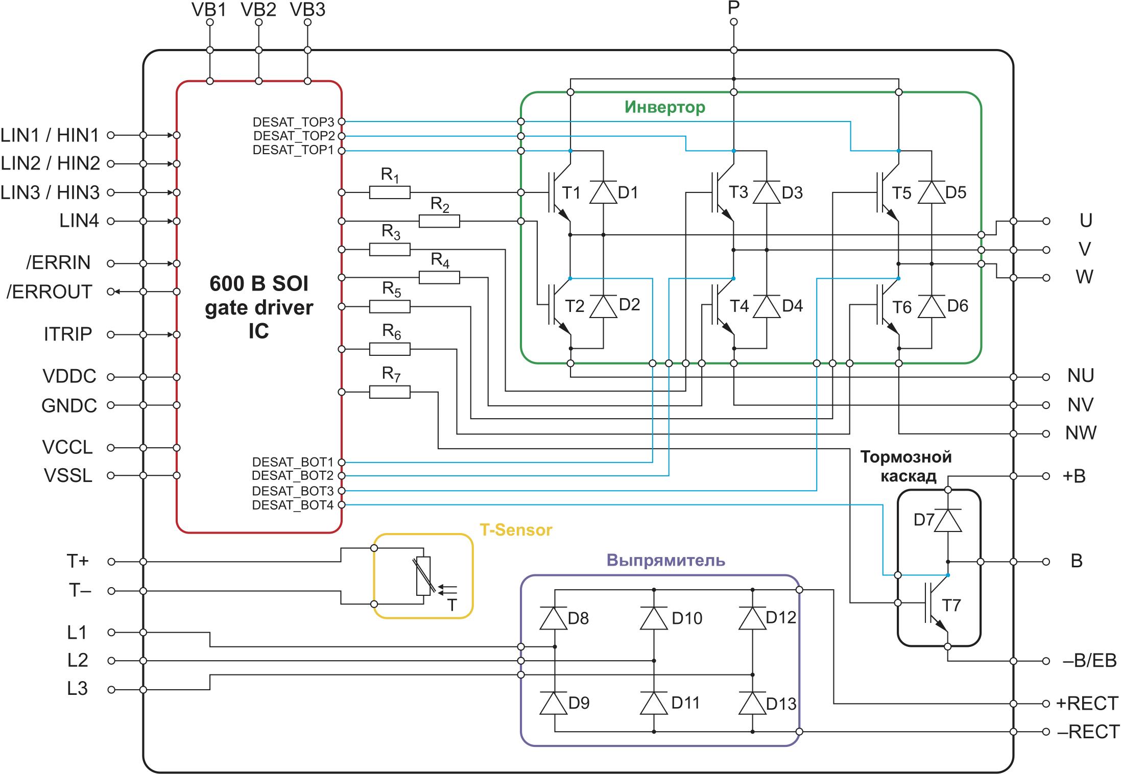 Функциональная схема модуля CIB (Converter/Inverter/Brake) с мониторингом VCE(sat)