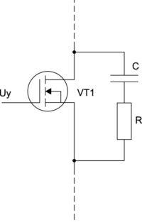 Силовой транзистор с демпферной RC-цепью
