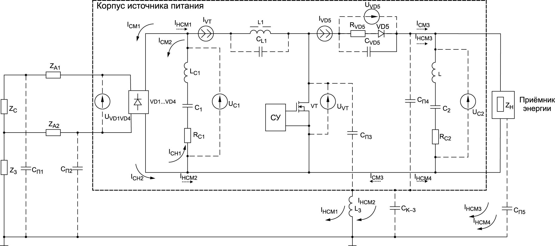 Электрическая схема цепи электропитания на основе НПН ПТ