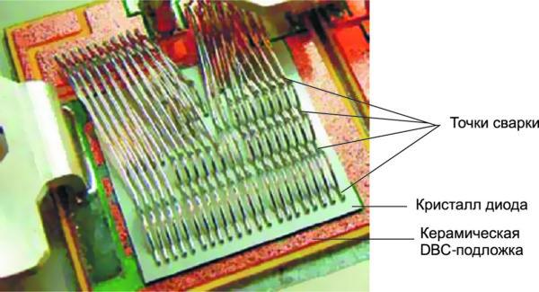 «Многоточечное» подключение алюминиевых проводников к контактной поверхности кристалла диода площадью 502 мм2