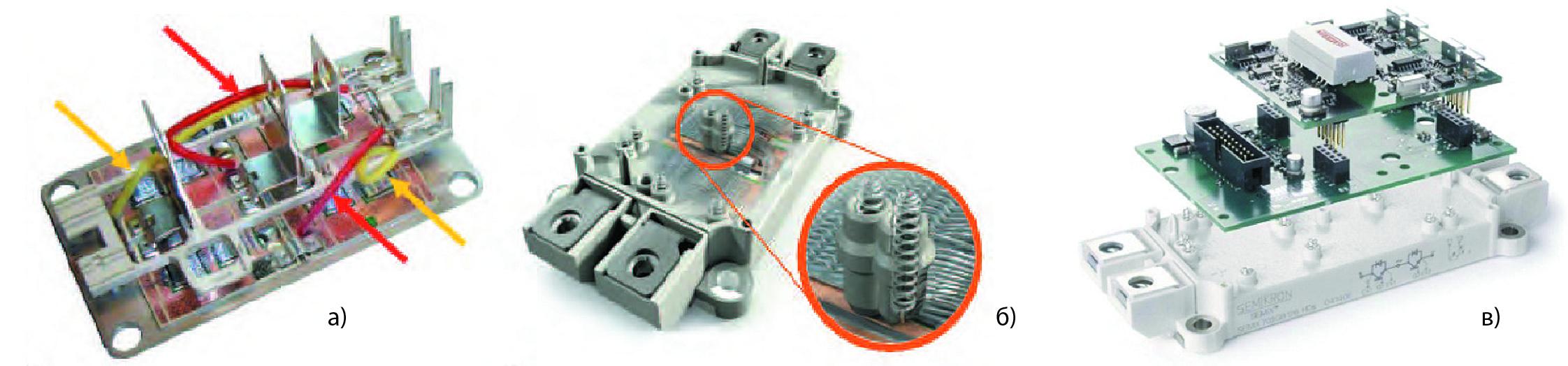 Выводы управления стандартного модуля 62 мм (SEMITRANS) и модуля SEMiX, сборка SEMiX/SKYPER 32