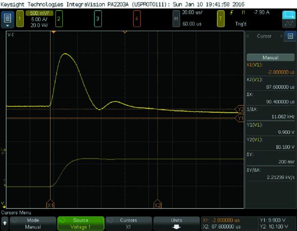 Рис. 2. Снимок экрана анализатора мощности Keysight IntegraVision, показывающий измерение времени отклика источника питания на изменение нагрузки [3]