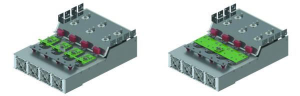 Фазная стойка инвертора: параллельные модули с четырьмя «индивидуальными» драйверами (слева) и одним «центральным» драйвером (справа)