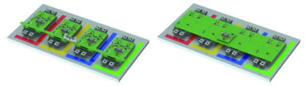 Платы адаптера: параллельные модули с индивидуальными драйверами (слева) и одним центральным драйвером (справа)
