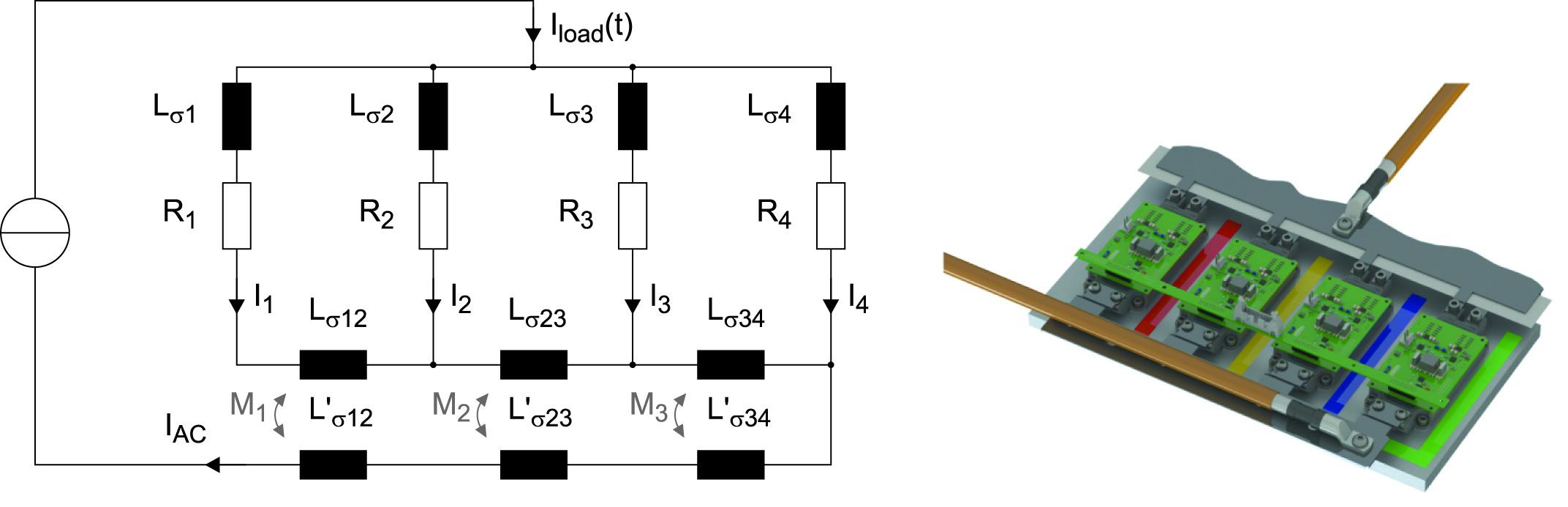Эквивалентная схема четырех параллельных токовых путей с учетом индуктивных связей