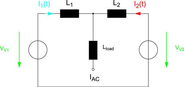 Упрощенная эквивалентная схема соединения двух параллельных модулей с большой АС-индуктивностью