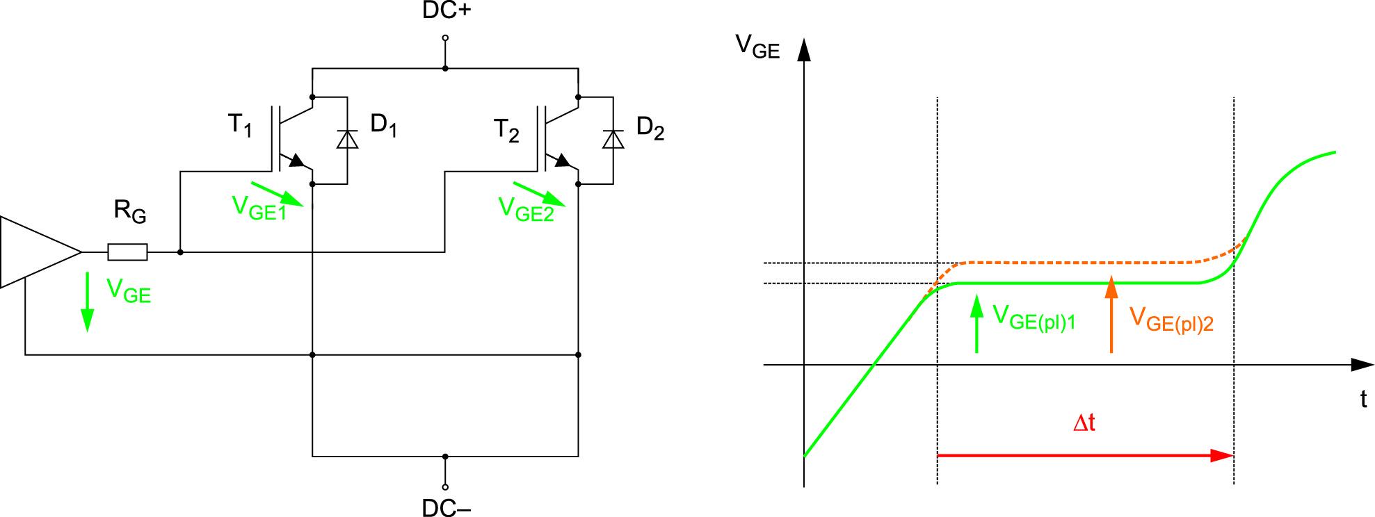 Эквивалентная схема двух параллельных IGBT с общим резистором затвора
