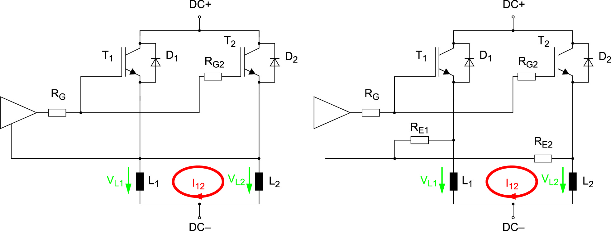 Эквивалентная схема двух параллельных IGBT с непосредственным соединением эмиттеров с выходом драйвера (слева) и соединением эмиттеров через сопротивления RE.