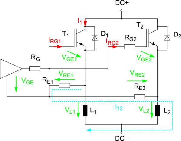 Эквивалентная схема двух параллельных IGBT с общим эмиттером