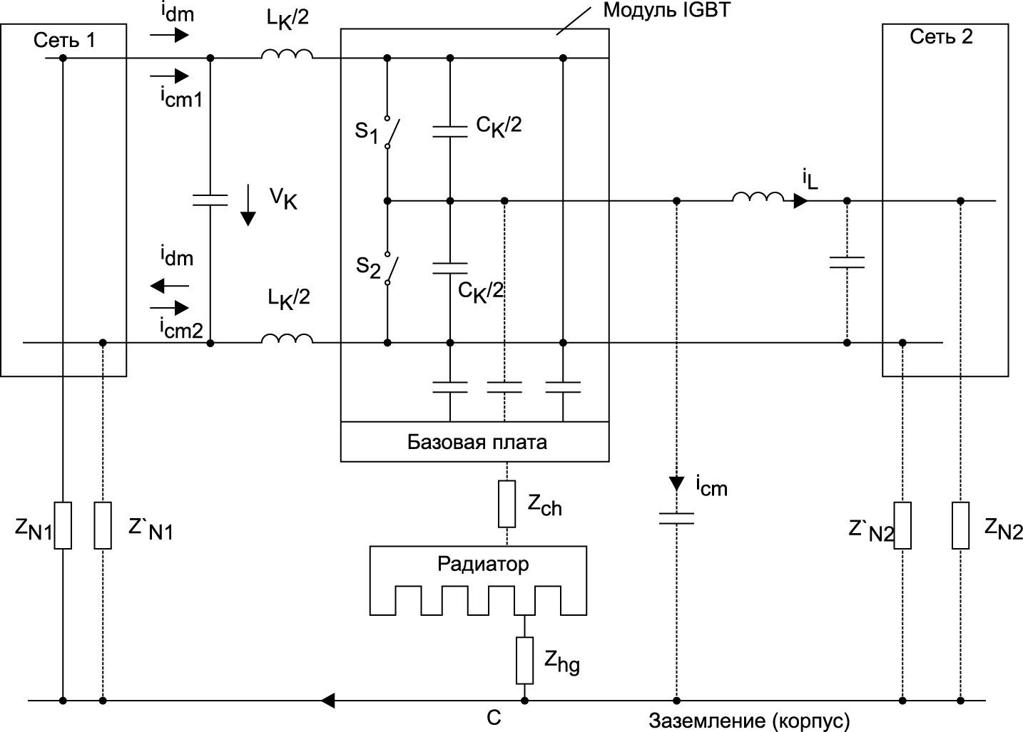Эквивалентная схема для анализа шумовых характеристик полумостового каскада