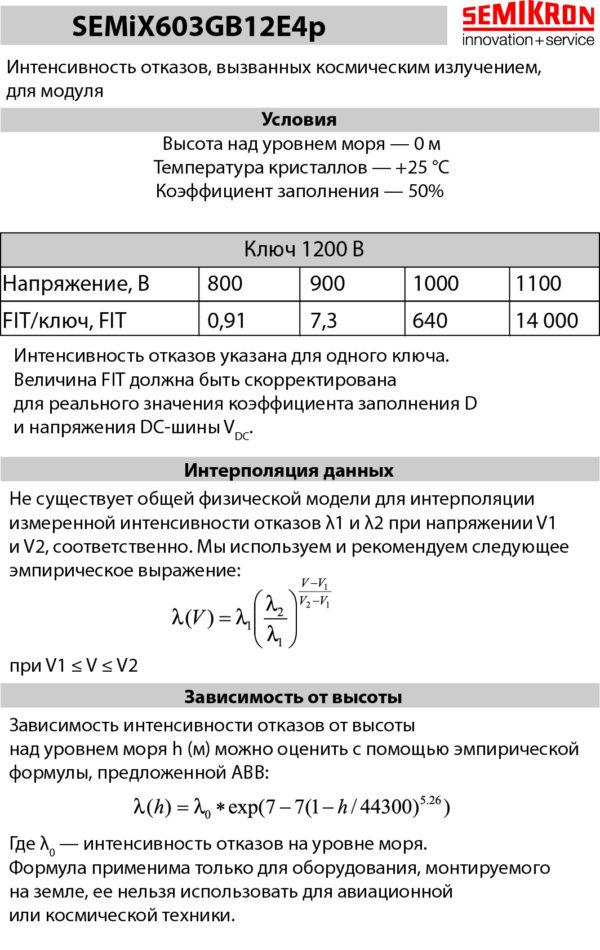 «Информационный лист» по интенсивности отказов модуля SEMiX603GB12E4p