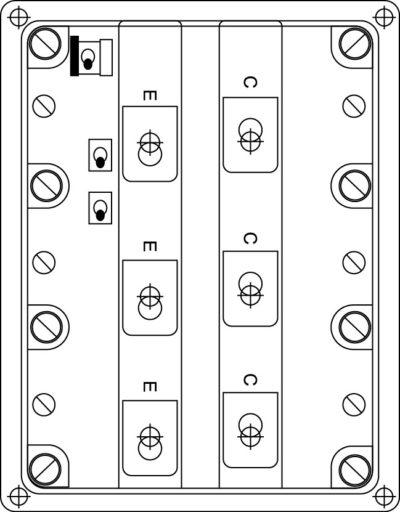 Рис. 6. Охладитель с установленным силовым IGBT-модулем с размерами корпуса 170130мм