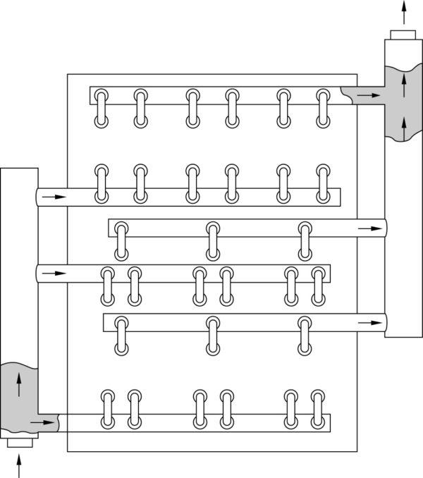 Многоканальная система жидкостного охлаждения для шести диодных и шести IGBT силовых модулей (выпрямитель и инвертор)