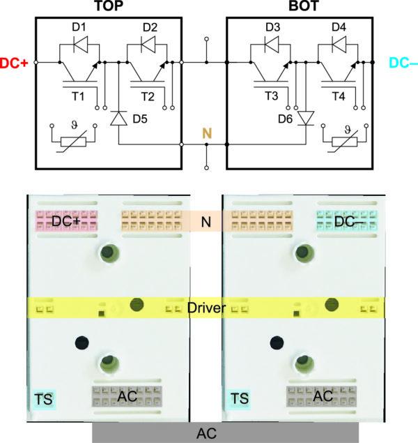Топология соединений фазной стойки трехуровневого инвертора на базе MiniSKiiP Dual Split MLI
