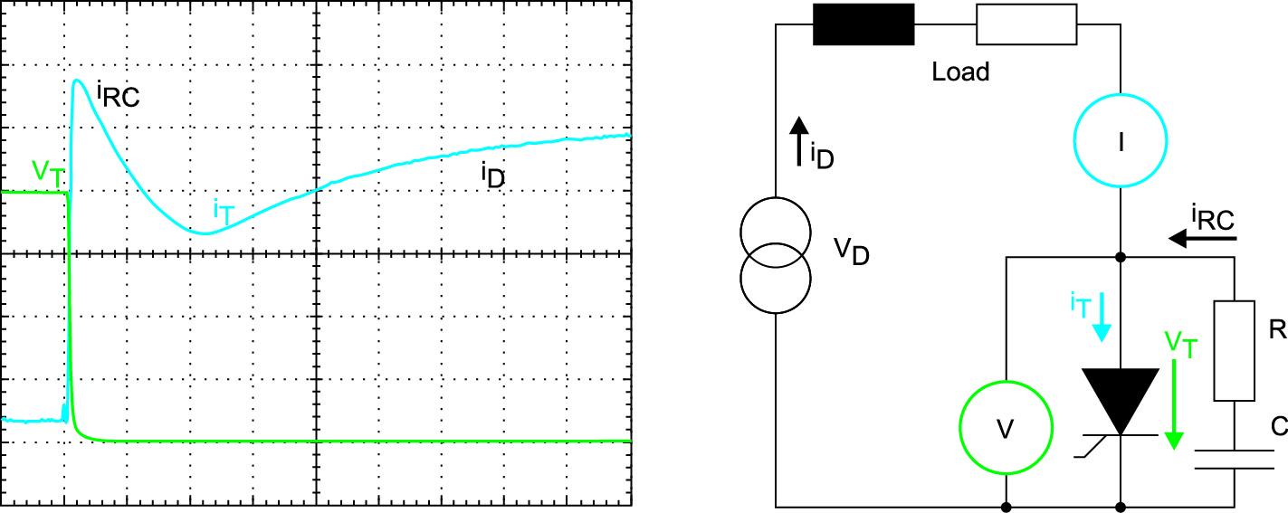 Ток разряда параллельной снабберной цепи при включении тиристора, схема тестирования