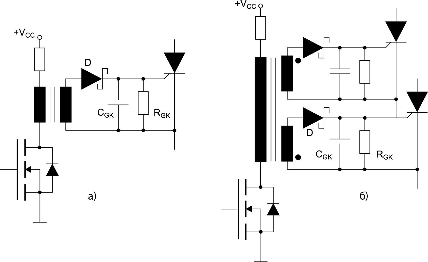 Схемы управления с импульсным трансформатором