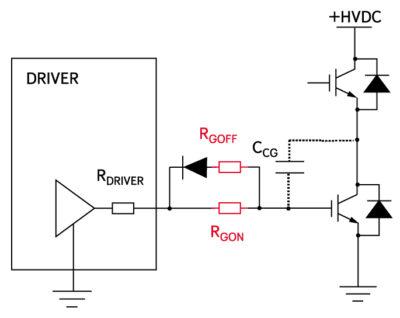 Разделенные резисторы в цепи затвора Rgon/Rgoff