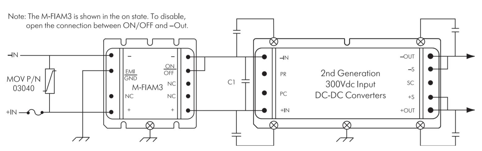 Типовая схема включения модуля фильтра и DC/DC-конвертера (MOV - металл-оксидный варистор)