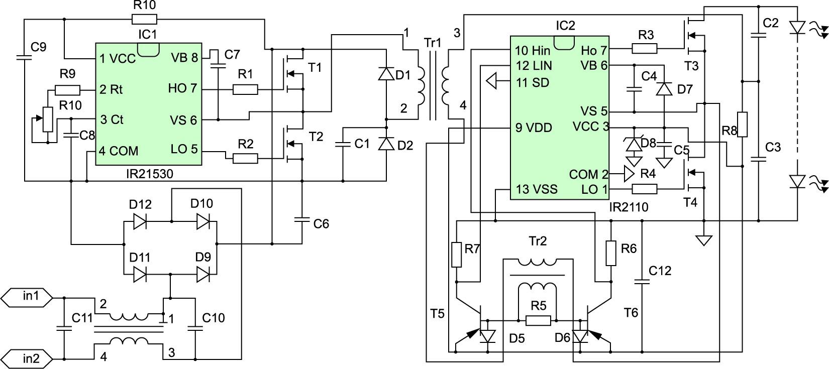 Принципиальная электрическая схема преобразователя
