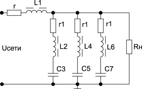 Схема устройства, обеспечивающего подавление гармоник с частотами 150, 250 и 350 Гц