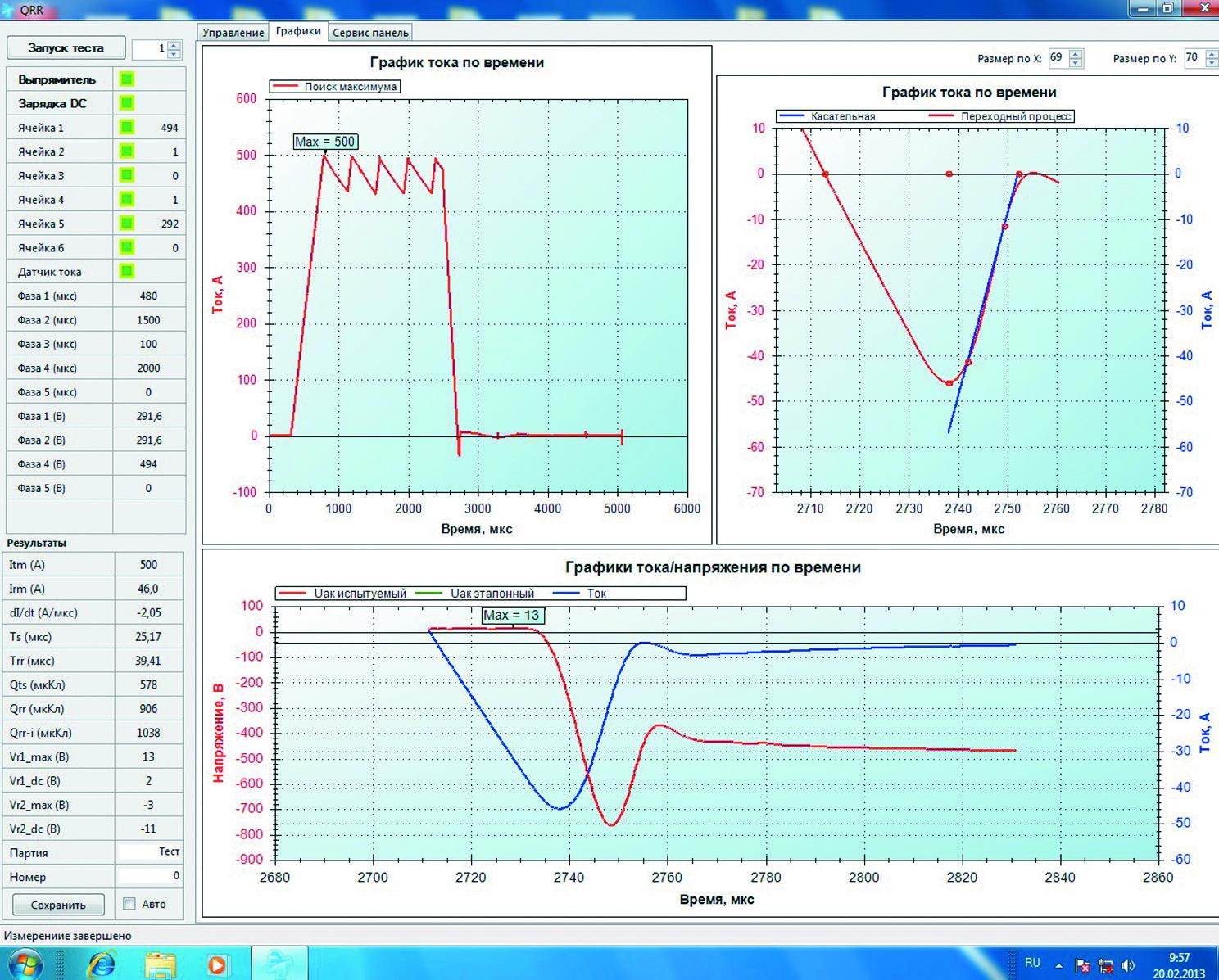 Вид панели системы сбора и обработки информации