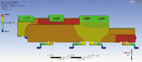 Распределение температуры в шинах в условиях электротермической нагрузки