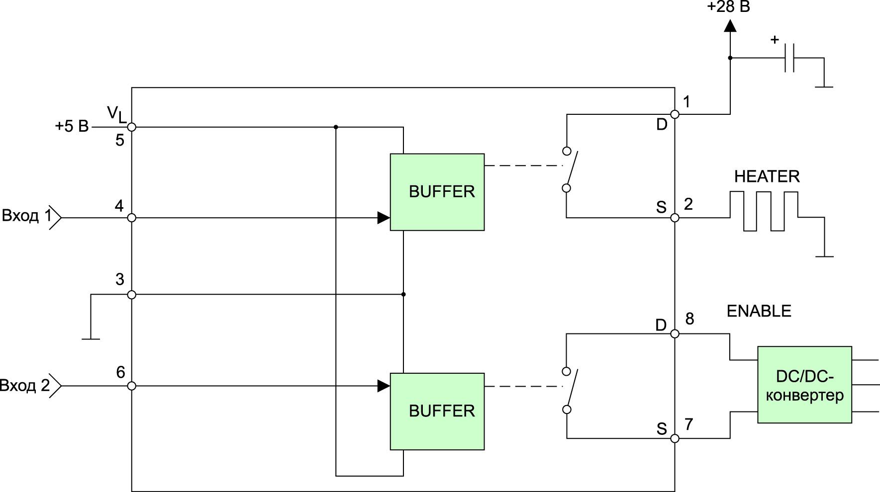 Типовая схема применения твердотельных реле Microsemi