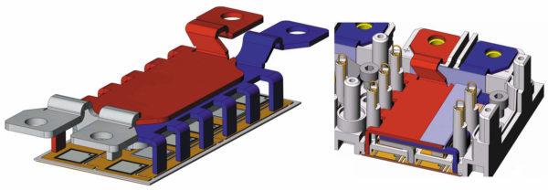 Многоточечный доступ к силовым шинам, расположение пружинных сигнальных контактов