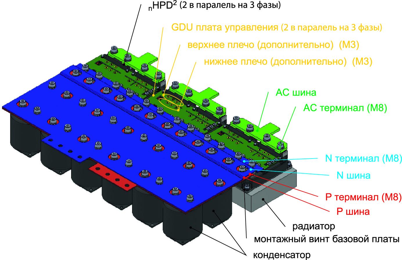 Пример сборки при установке двух модулей nHPD2 в параллель и 3-фазной конфигурации схемы (в общей сложности 6 модулей nHPD2)
