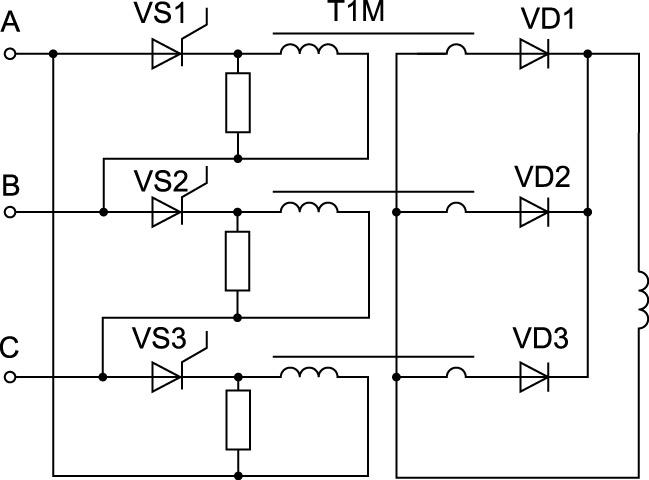 Принципиальная электрическая схема управляемого трехфазного однополупериодного выпрямителя