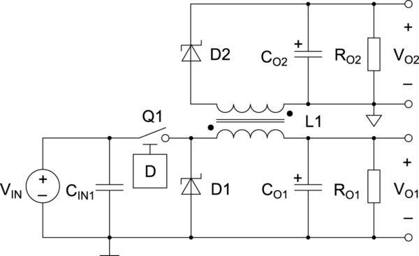 Пример топологии неизолированного DC/DC-преобразователя с двумя выходными напряжениями