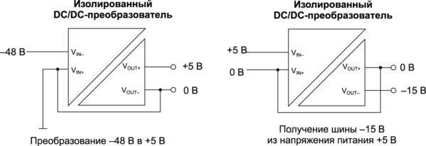 Примеры преобразования полярности с использованием изолированного DC/DC-преобразователя