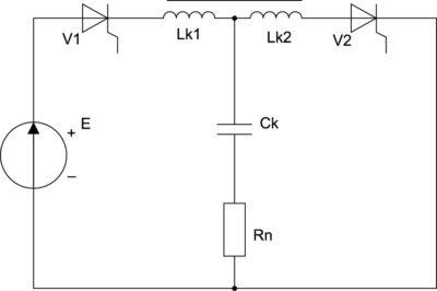 Несимметричный резонансный инвертор с прямой коммутацией