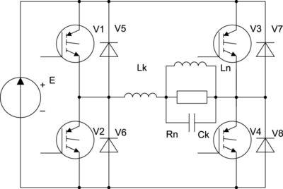 Согласованный инвертор на двухоперационных вентилях со встречно-параллельными диодами