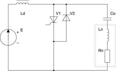 Четвертьмостовой (одноключевой) согласованный инвертор с закрытым входом и резонансной коммутацией