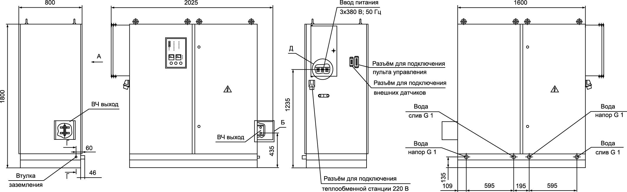 Внешние подключения и основные узлы ТПЧ «Петра-0141», габаритные размеры для справок