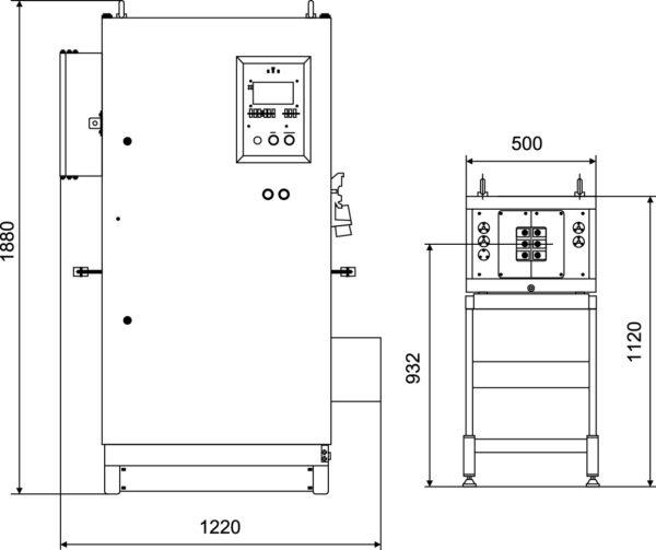Габаритные размеры преобразователя ПЕТРА-0133 и нагревательного блока ПЕТРА-0393 (для справок)