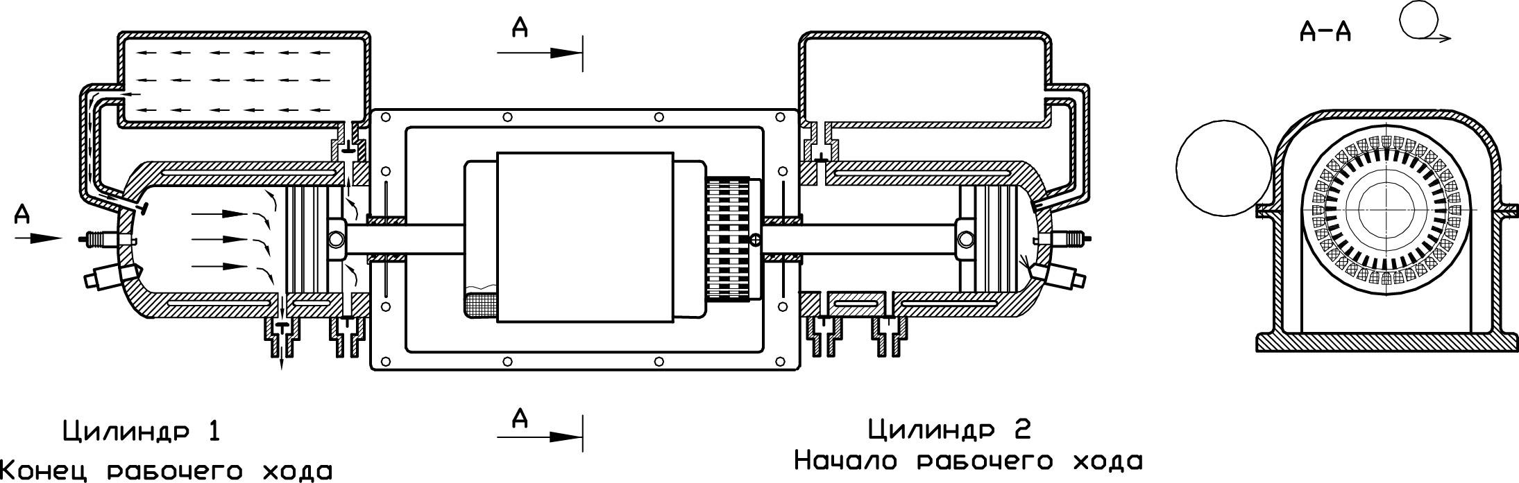 Двухтактный двухцилиндровый оппозитный ДВС с двумя ресиверами и одним генератором
