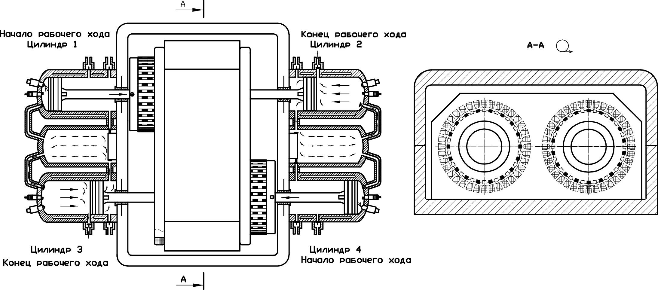 Двухтактный четырехцилиндровый оппозитный ДВС с двумя ресиверами и двумя генераторами