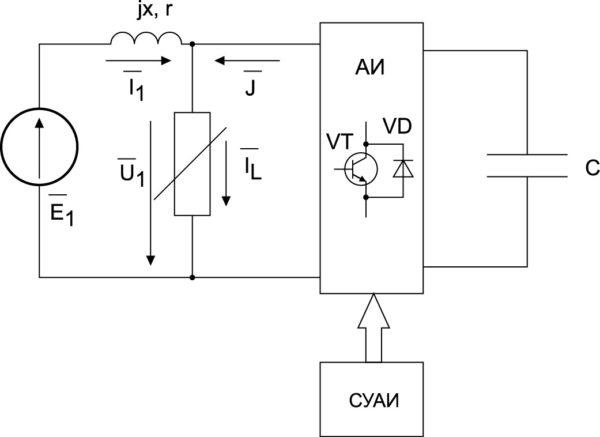 Эквивалентная схема замещения системы управления возбуждением синхронного генератора