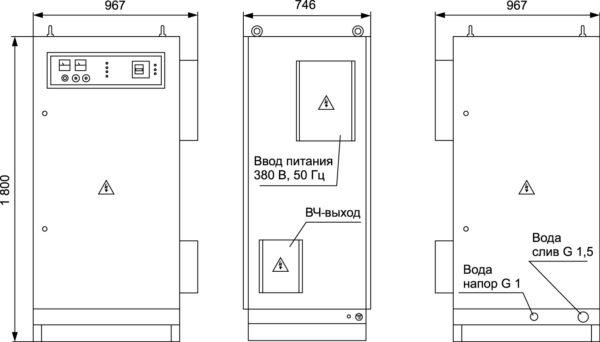 Габаритный чертеж шкафа преобразователей частоты серии «Петра-0120»