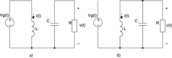 Эквивалентные схемы для конвертера (см. рис. 2б) в случае, когда ключ находится в положениях «1» и «2»
