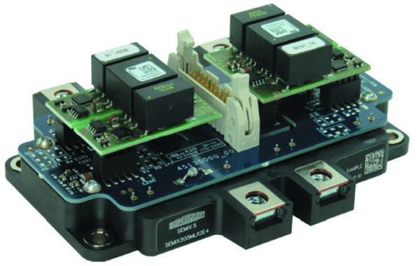 Пример реализации фазной стойки 3L-инвертора на модуле SEMiX5 в конфигурациях TNPC и NPC.  См. [7] — техническое описание платы драйвера SEMiX5 1200V MLI SKYPER 12 Driver Board и SEMiX5 TMLI SKYPER 12 Driver Board