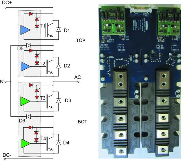 Рис. 16. Структура платы драйвера и пример реализации фазной стойки 3L NPC-инвертора на модулях SEMITRANS 10.  См. [11] – техническое описание платы ST10 MLI Driver Board – 11.04.2019 rev.04
