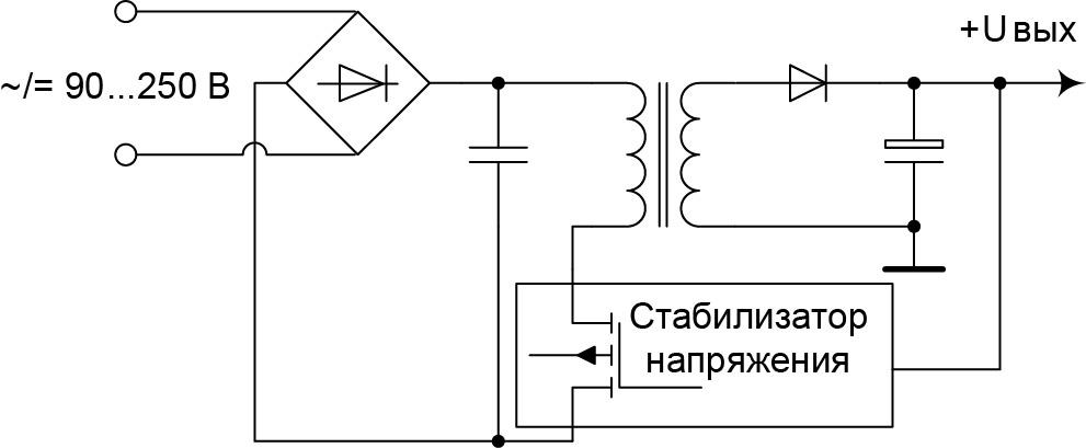 «Бестрансформаторный» ИВЭП с высоким КМ