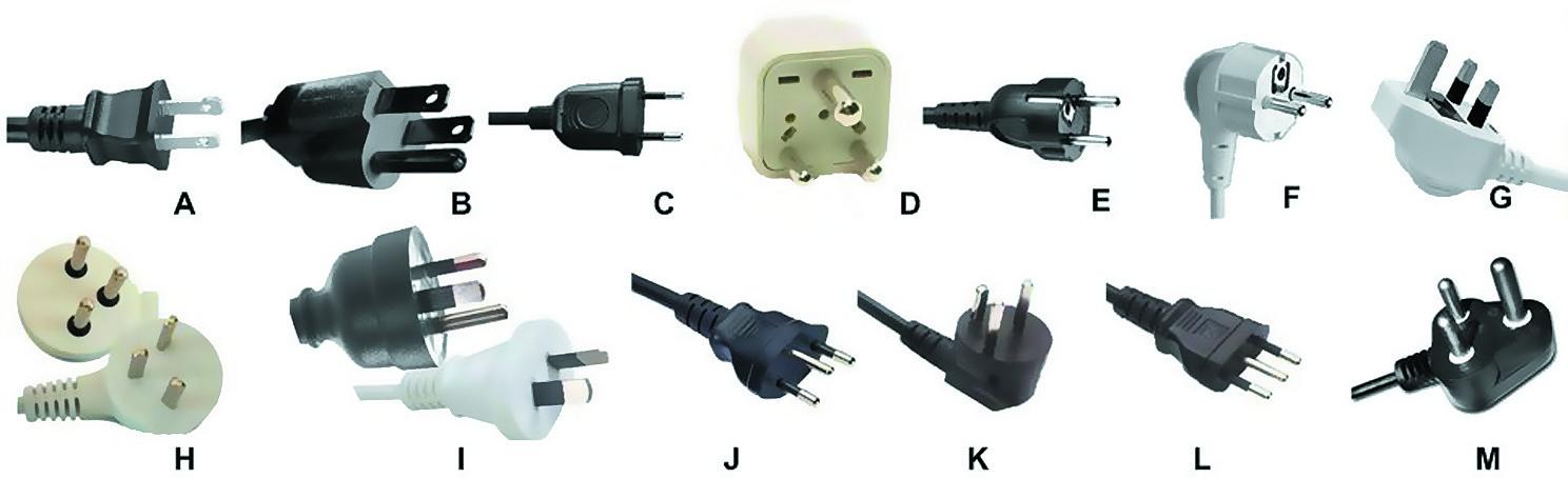 Стандартизованные вилки для АС-сетей потребителей