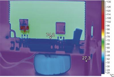Тепловой профиль при полной нагрузке C2M0080120D на частоте 100 кГц