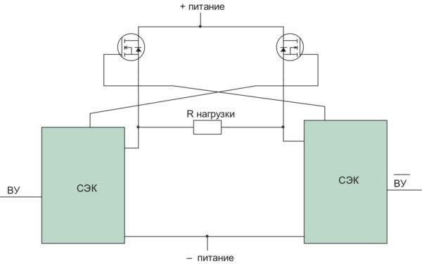 Вариант схемы СЭК мостового типа с дополнительными транзисторами